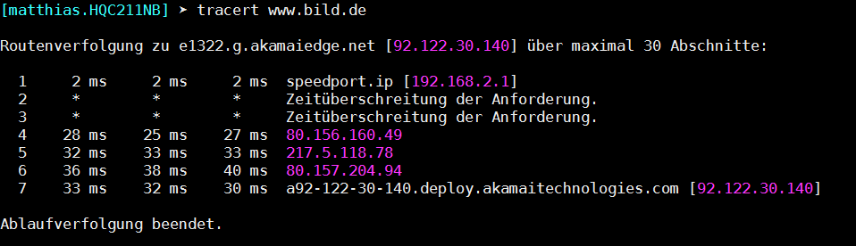 Traceroute unter Windows