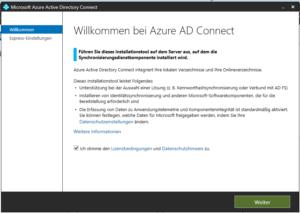 Starten der Azure AD Installation