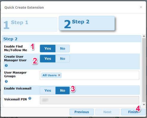 FreePBX: Nebenstelle anlegen (Schritt2)